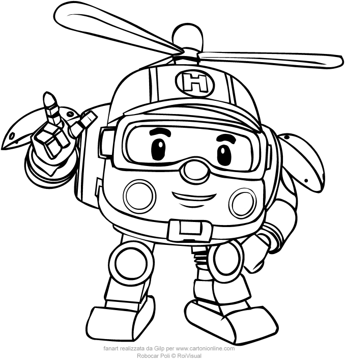 helly from robocar poli coloring pages