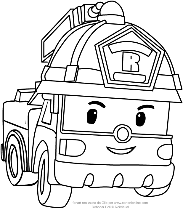 Coloring Pages Robocar Poli : Roy in car version from robocar poli coloring pages