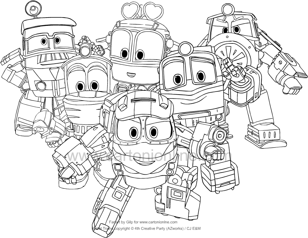 Robot Trains coloring page