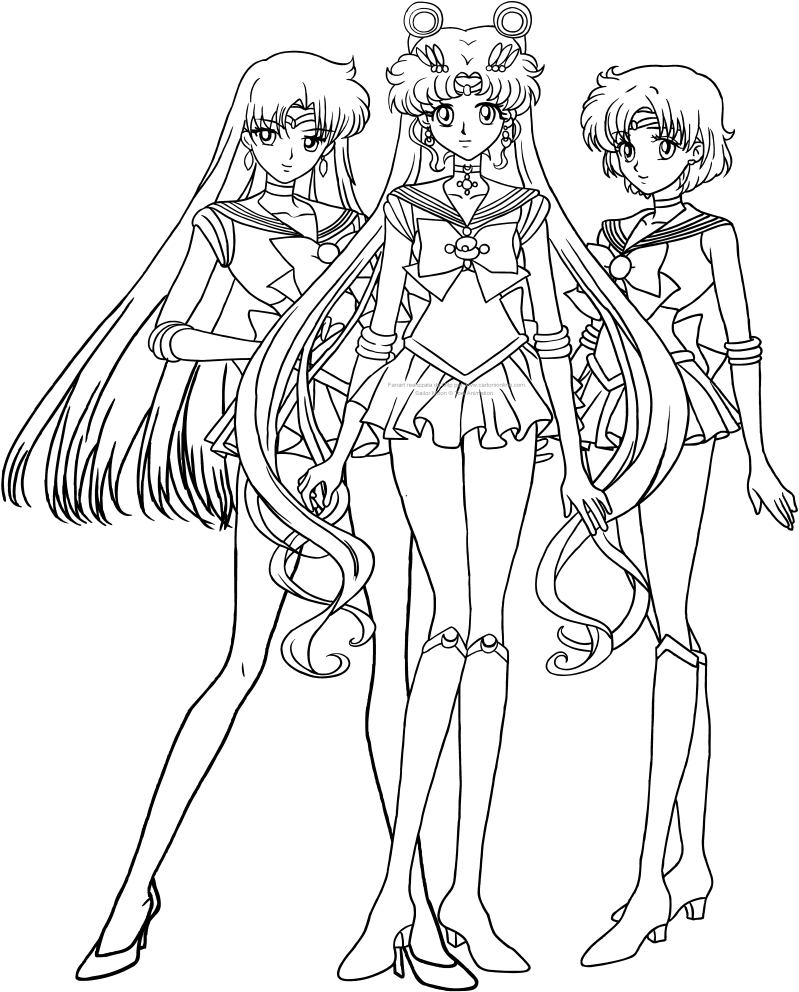 Sailor, Moon, Mars e Mercury Crystal coloring pages