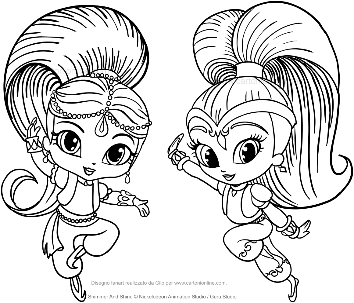 Shimmer And Shine Coloring Page To Print