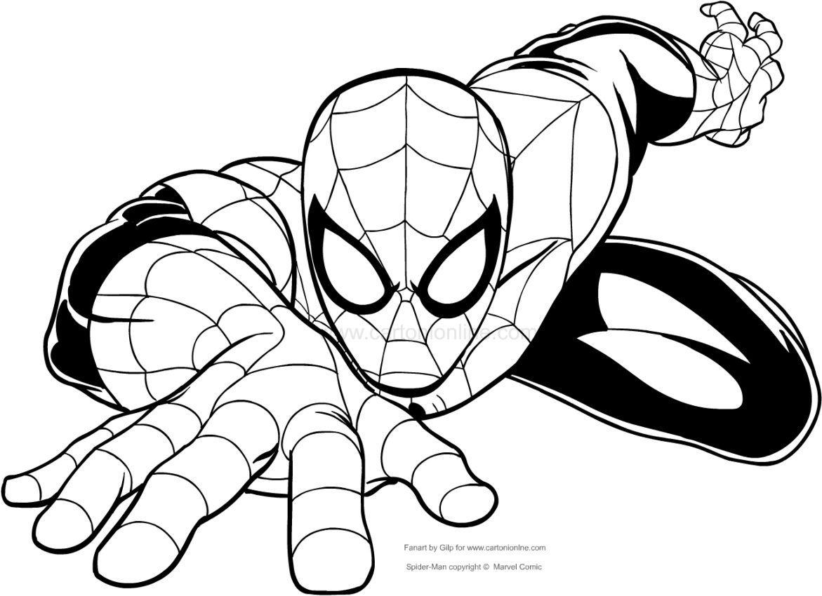 Drawing Spider Man Climbing To The Wall Coloring Page