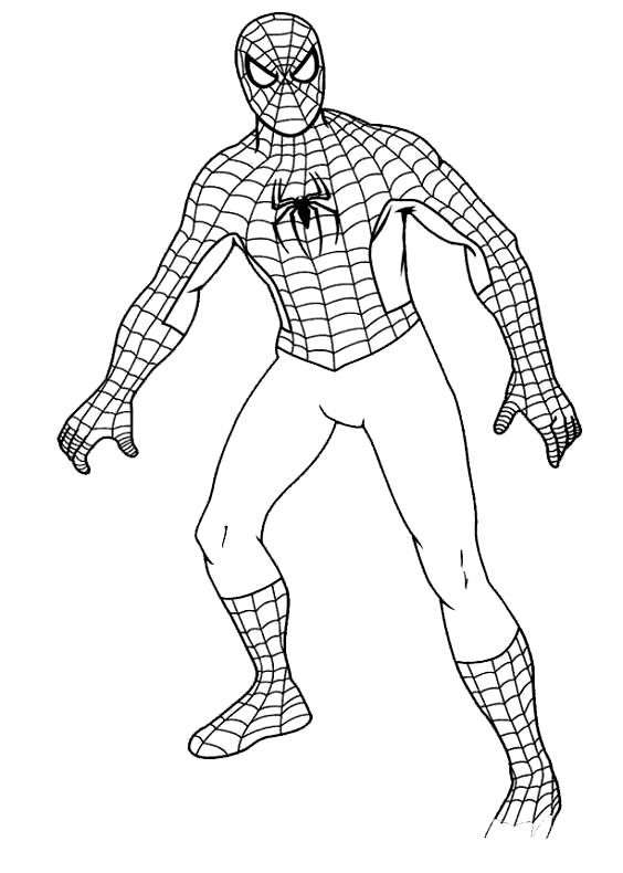 Drawing Spiderman Full Body Coloring Page