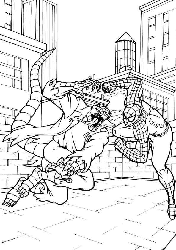 Drawing spiderman vs lizard coloring page for Stampe da colorare spiderman