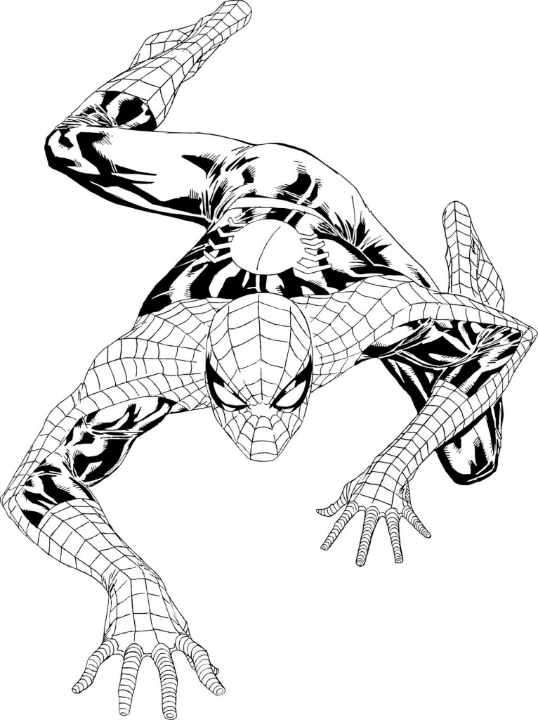 Drawing Spiderman who climbs the walls coloring page