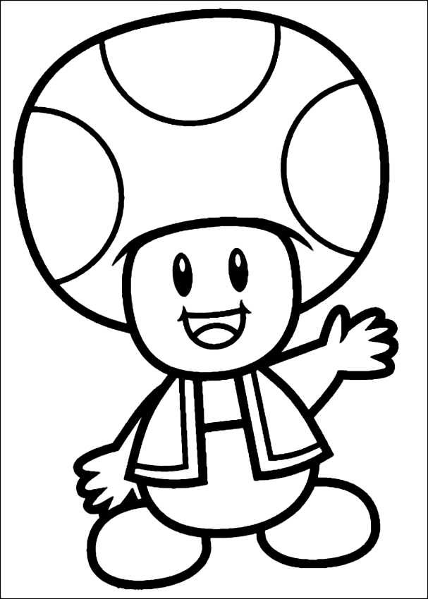Drawing Of Toad The Mushroom Di Super Mario Coloring Page