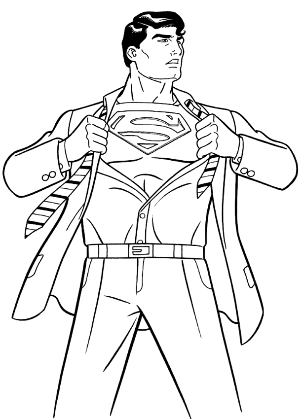 Drawing Clark Kent becomes Superman coloring page
