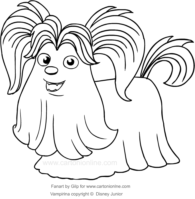 Drawing Wolfie the dog of Vampirina coloring page