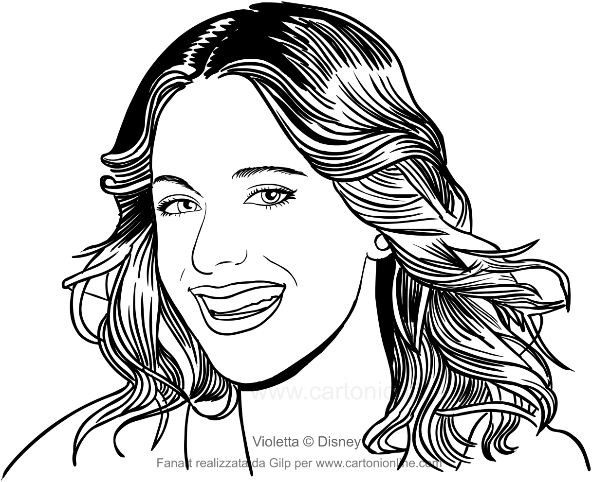 Drawing The Face Of Violetta Who Smiles Coloring Pages Printable For Kids