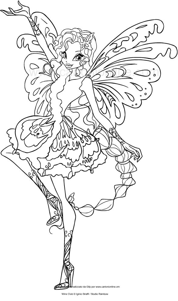 Kleurplaat Printer Drawing Aisha Butterflix Winx Club Coloring Page