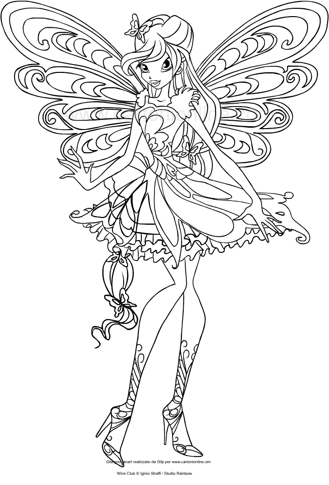 drawing bloom butterflix winx club coloring page