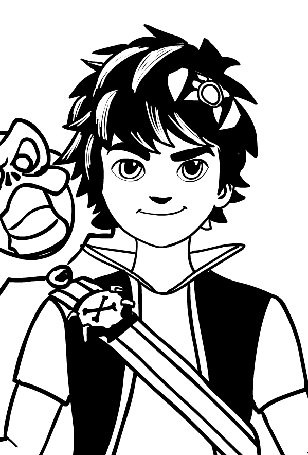 Drawing Of Zak Storm (face) Di Zak Storm Coloring Page