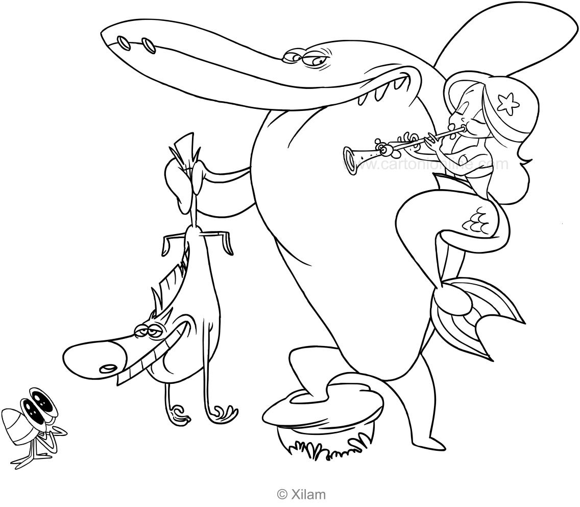 Zig sharko marina and bernie coloring page for Disegni da colorare zig e sharko