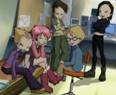 De hoofdrolspelers van Code Lyoko - Jeremy, Ulrich, Yumi en Odd