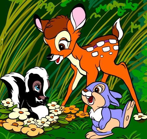 Bambi, skunk Fiore och kanin Tamburino