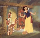 Snow White enters the house of the seven dwarfs