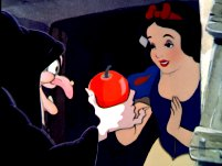 The witch offers the poisoned apple to Snow White