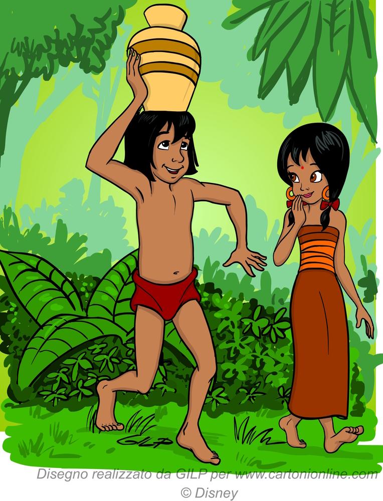 Mowgli hjelper Shanti med å ta med kannen