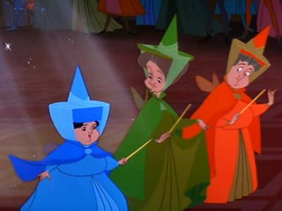 Flora, Fauna and Serenella fairies - Sleeping beauty in the woods