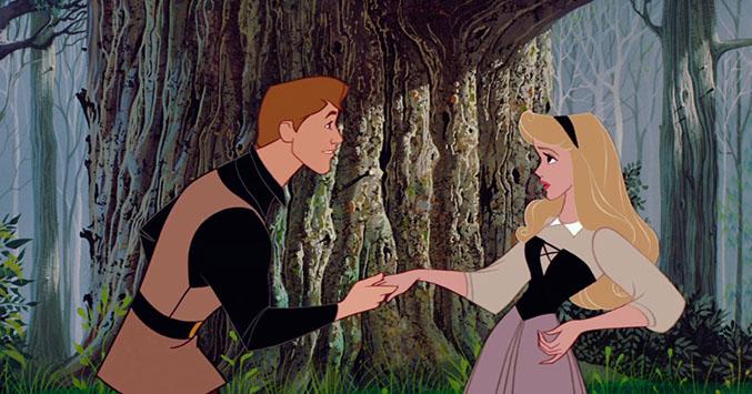 Prinssi Philip ja Aurora tapaavat metsässä - metsässä nukkuva kauneus