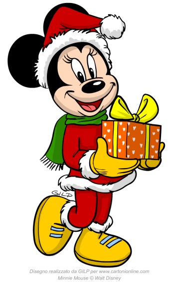Minnie con il regalo di natale