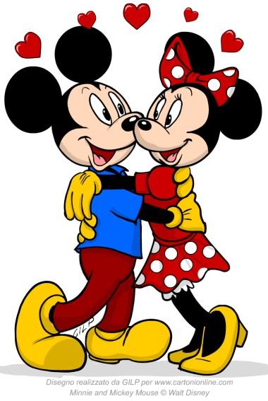 Minnie minnie e topolino innamorati for Immagini da colorare di minnie