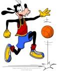 Goofy plays basketball