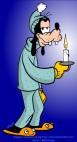 Goofy sleepy in pajamas with candle