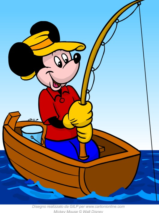 Topolino pesca in barca