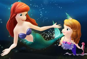 Sofia la principessa insieme ad Ariel la sirenetta