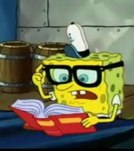 Spongebob with glasses while reading