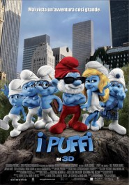 El cartel italiano de la película Los Pitufos