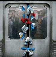 Los pitufos en el metro de Nueva York