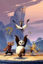 Les protagonistes de Kung fu Panda: Tiger; Vipère; Grue à tour; Mante; Le singe est au centre