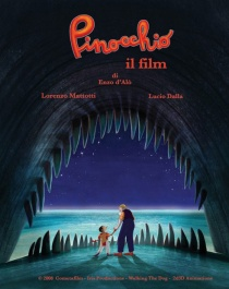 Cartaz italiano do filme Pinóquio de Enzo D'Alò