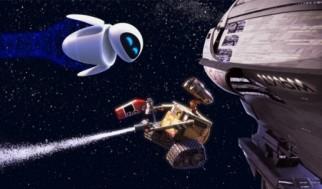 Wall-e en el espacio en una secuencia evocadora con Eva