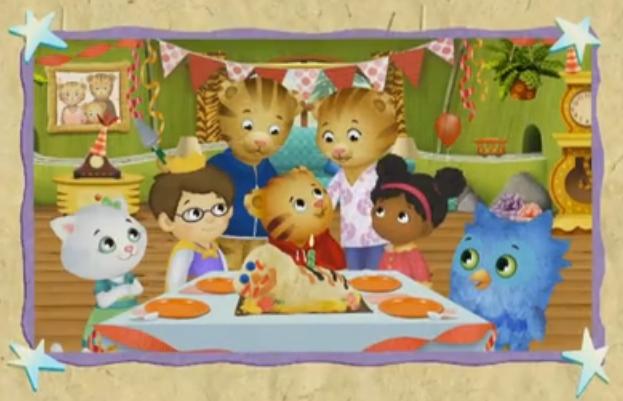 Daniel Tiger celebra su cumpleaños con sus padres y amigos.