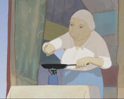 루이스가 점심을 요리하다