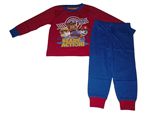 8fa8442151 Questo pigiama rosso e blu per bambini dai 2 ai 6 anni è caratterizzato da  una immagine con colori brillanti dei Paw Patrol Chase, Marshall e Rubble.