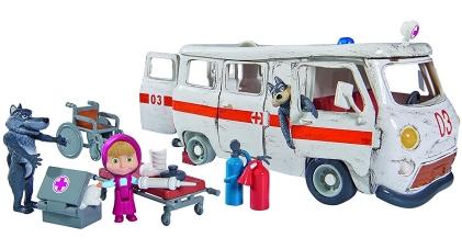 Simba 109309863 - Masha Ambulance Playset con personajes y accesorios