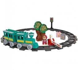 Big 800057095 - Masha-konstruktioner: tågstation med en karaktär inkluderad, 35 delar