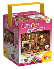 Lisciani 48472 - Masha och björnen i huset Pussel och färg Maxi trumma, 48 stycken