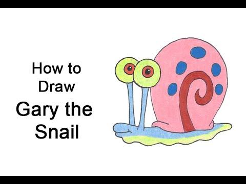 스폰지 밥 네모 바지에서 달팽이 게리를 그리는 방법