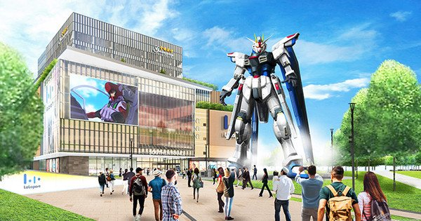 The life-size statue of Gundam rises above Shanghai