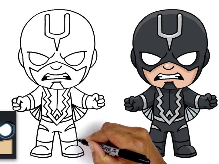 Как нарисовать Черного грома из Marvel Inhumans