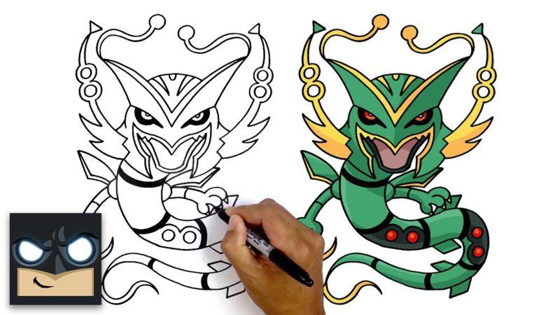 Hur man ritar Mega Rayquaza | Pokémon