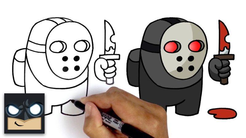 Hur man ritar Imposter av videospelet Among Us