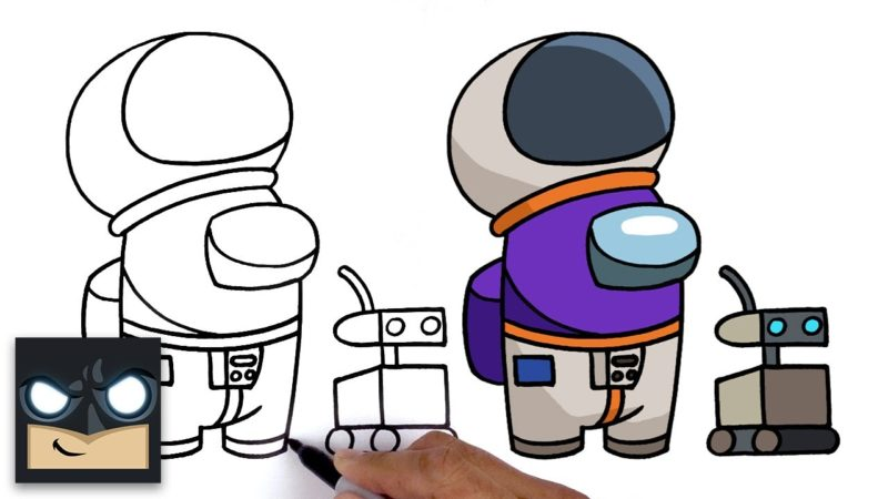 Come disegnare Astronaut Crewmate + Pet |  Among Us
