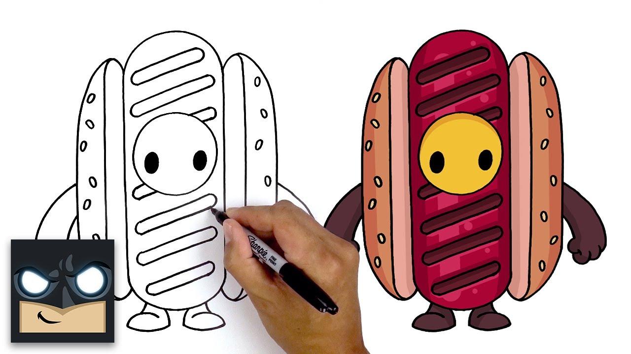 Come disegnare Hotdog Skin del videogioco Fall Guys