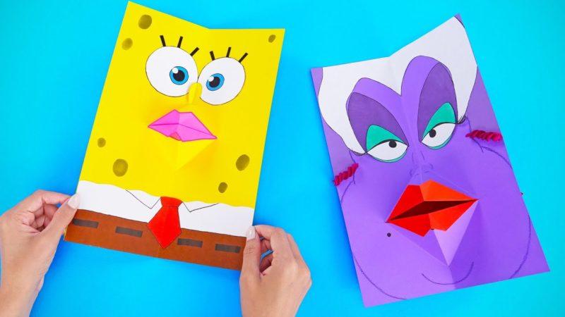 Giochi di carta con i personaggi dei cartoni che cambiano espressione